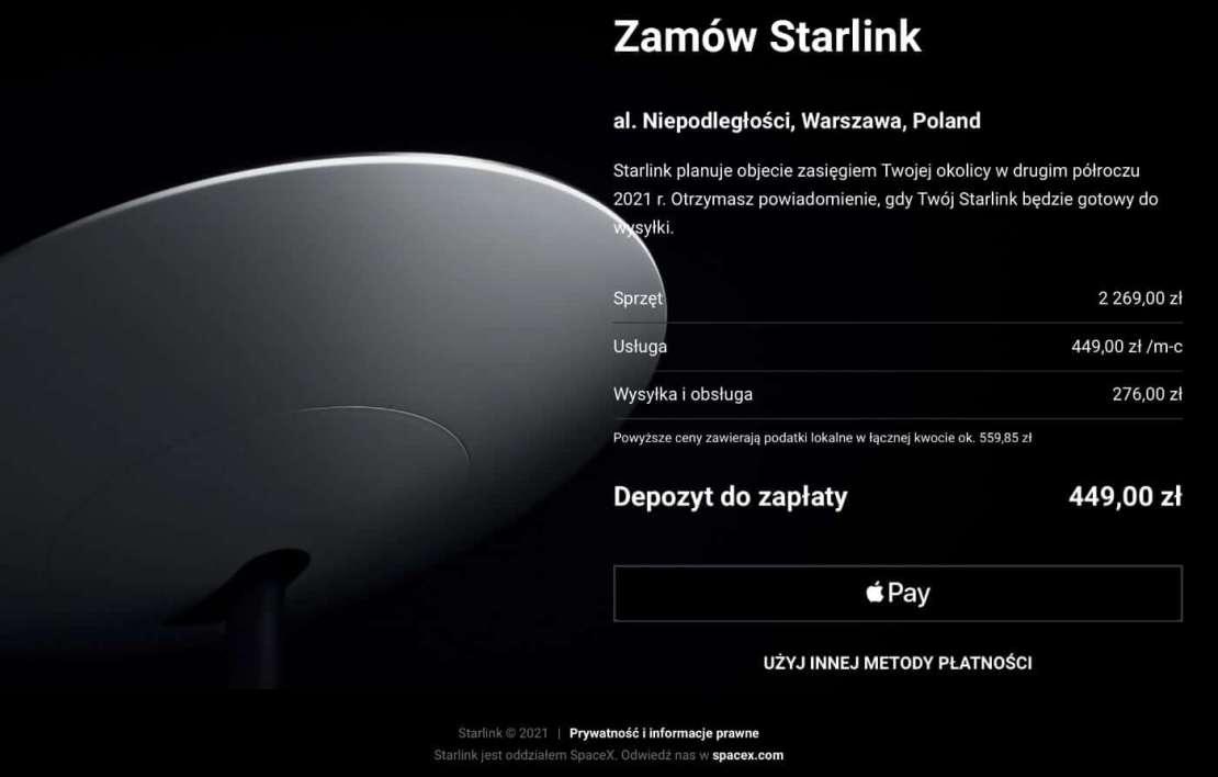 Cena dostępu do internetu satelitarnego Starlink w Polsce (wrzesień 2021)
