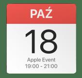 Ikona kalendarza z datą 18 października – Apple Event