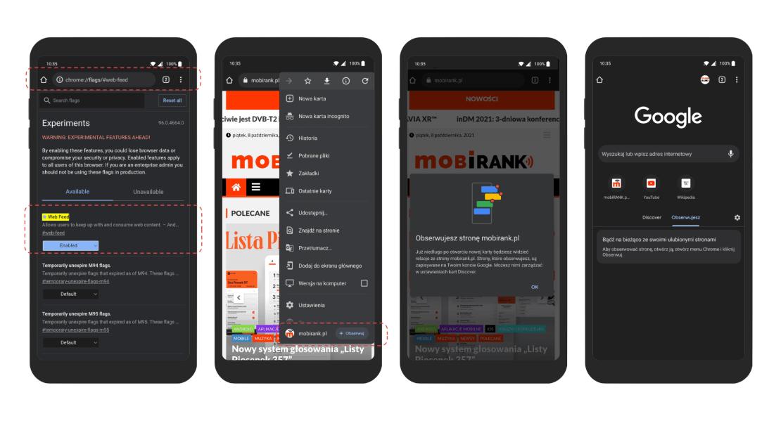 Jak obserwować kanały RSS witryn w Chromie na Androida?