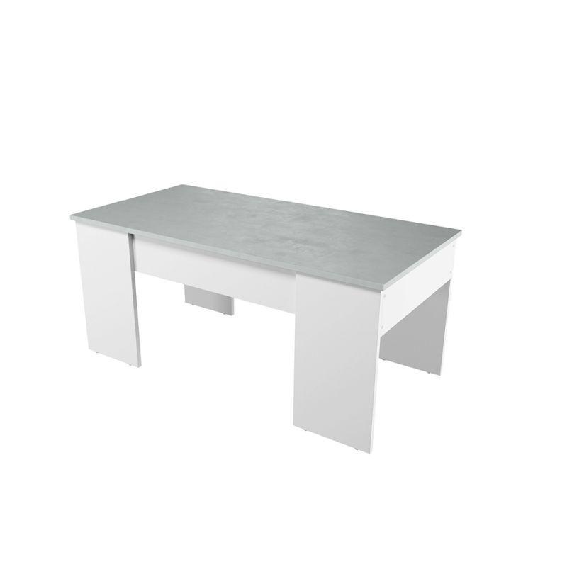 table basse blanche avec plateau relevable effet beton