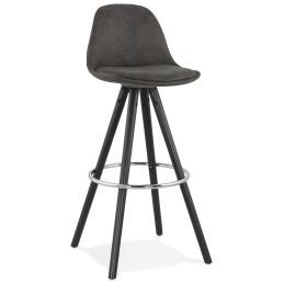 tabouret de bar design agouti gris fonce pieds en bois noir