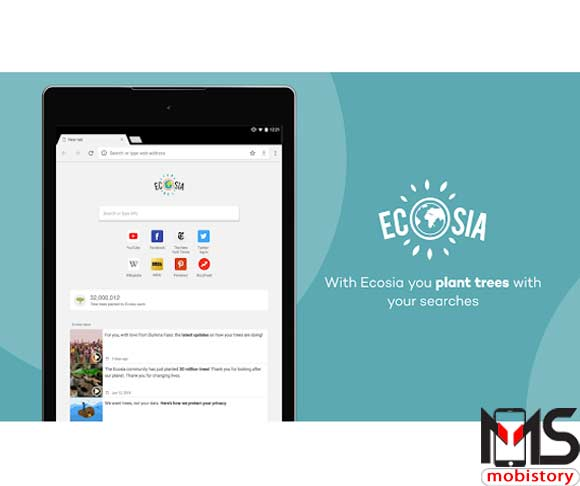 تحميل تطبيق Ecosia Browser للايفون و الاندرويد متصفح سريع وآمن جدا