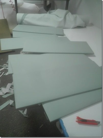Wall panels being upholstered