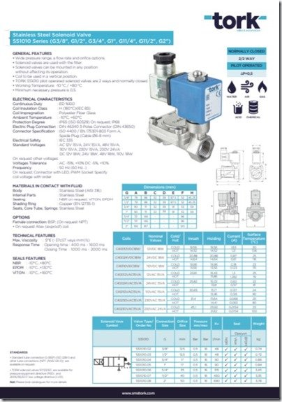 Tork SS1010 series solenoid high water bilge valve catalogue page