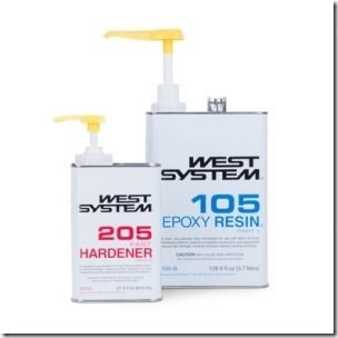 West Systems epoxy pumps in cans