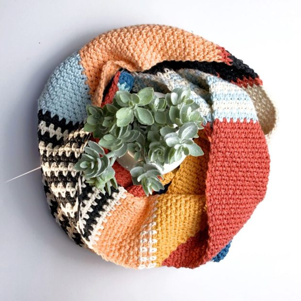 Scrap yarn scarf wrapped around a succulent