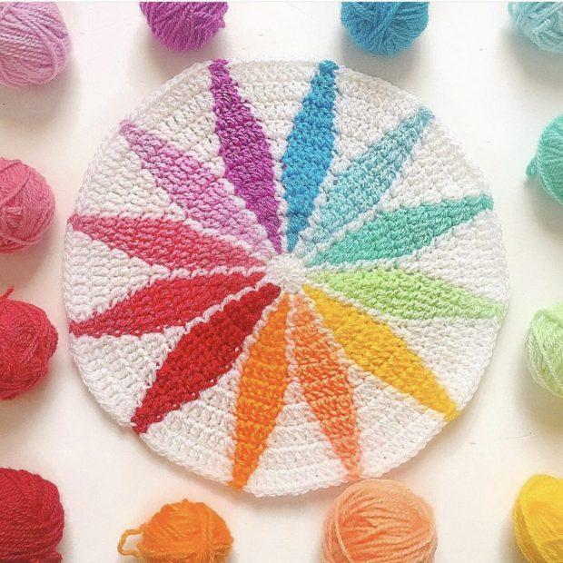 Rainbow tapestry crochet motif