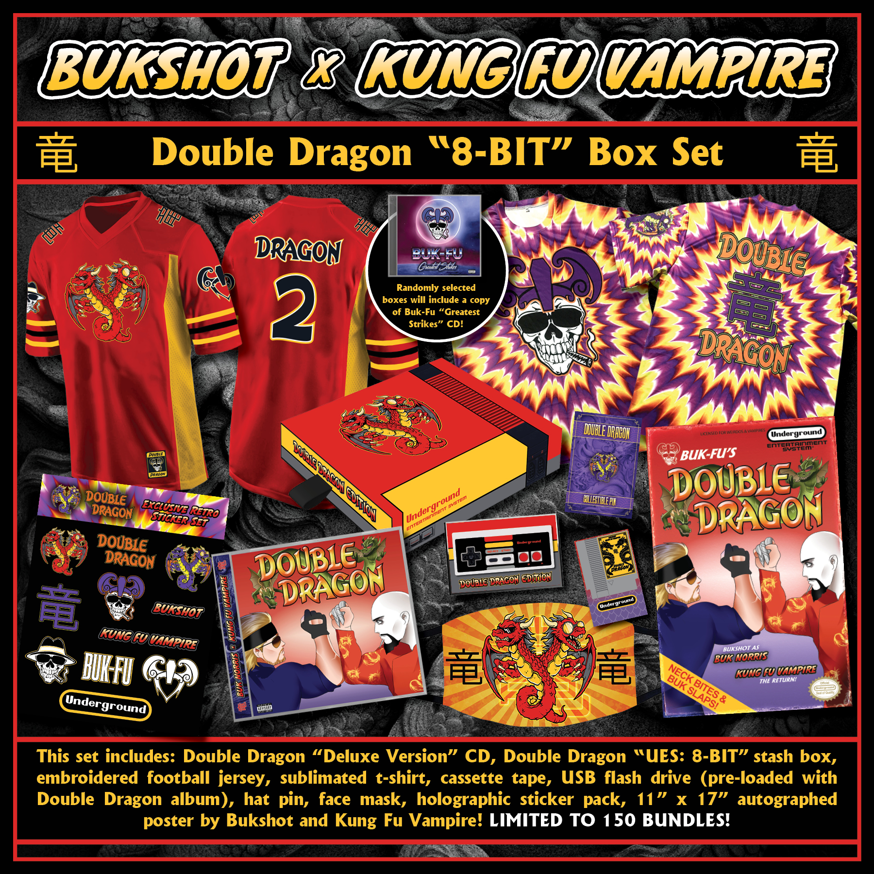 "Bukshot & Kung Fu Vampire ""Double Dragon"" 8-BIT Box Set [PRE-ORDER] (See Description Below For Details & Contents)"