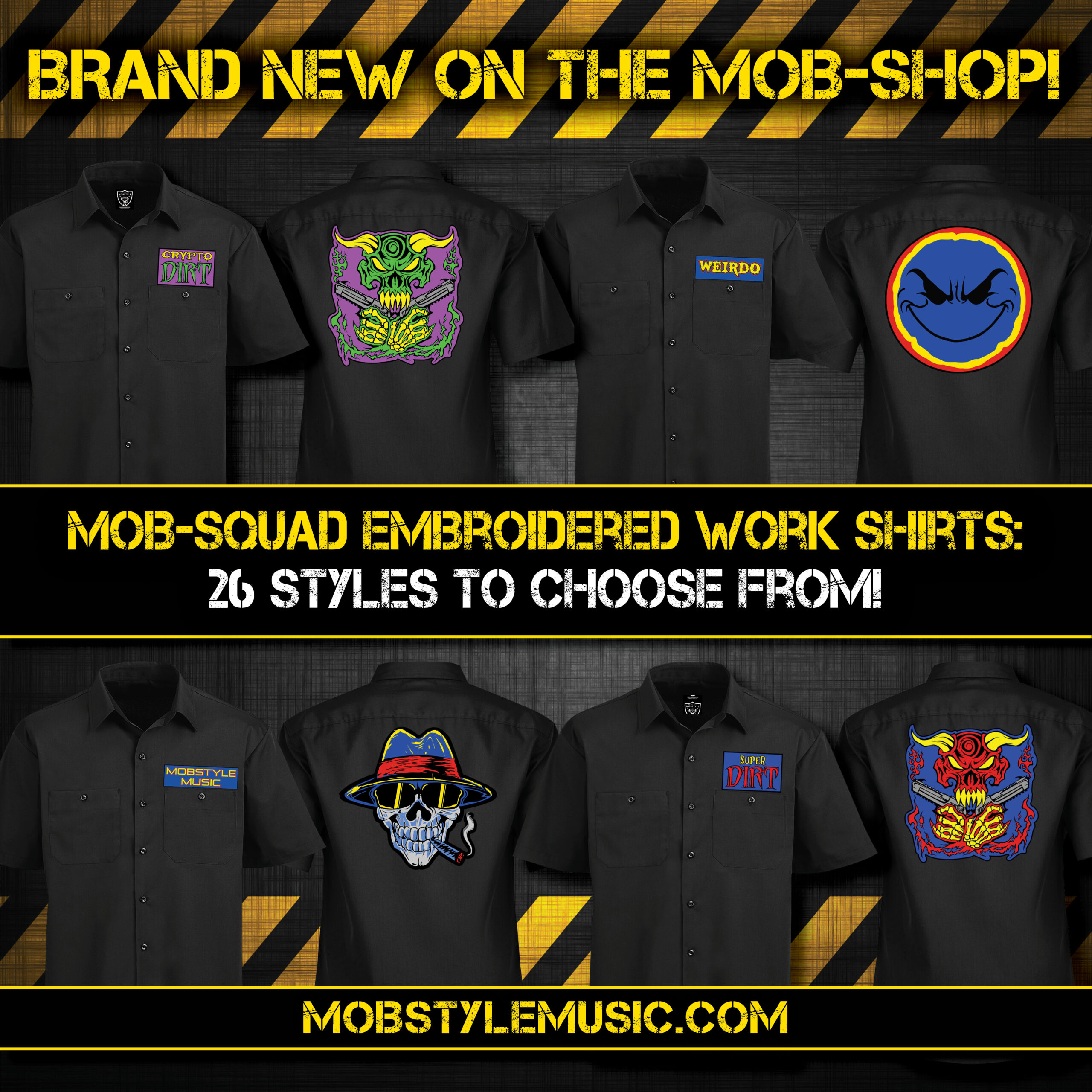 Mob-Squad Embroidered Work Shirts – 28 Styles To Choose From!