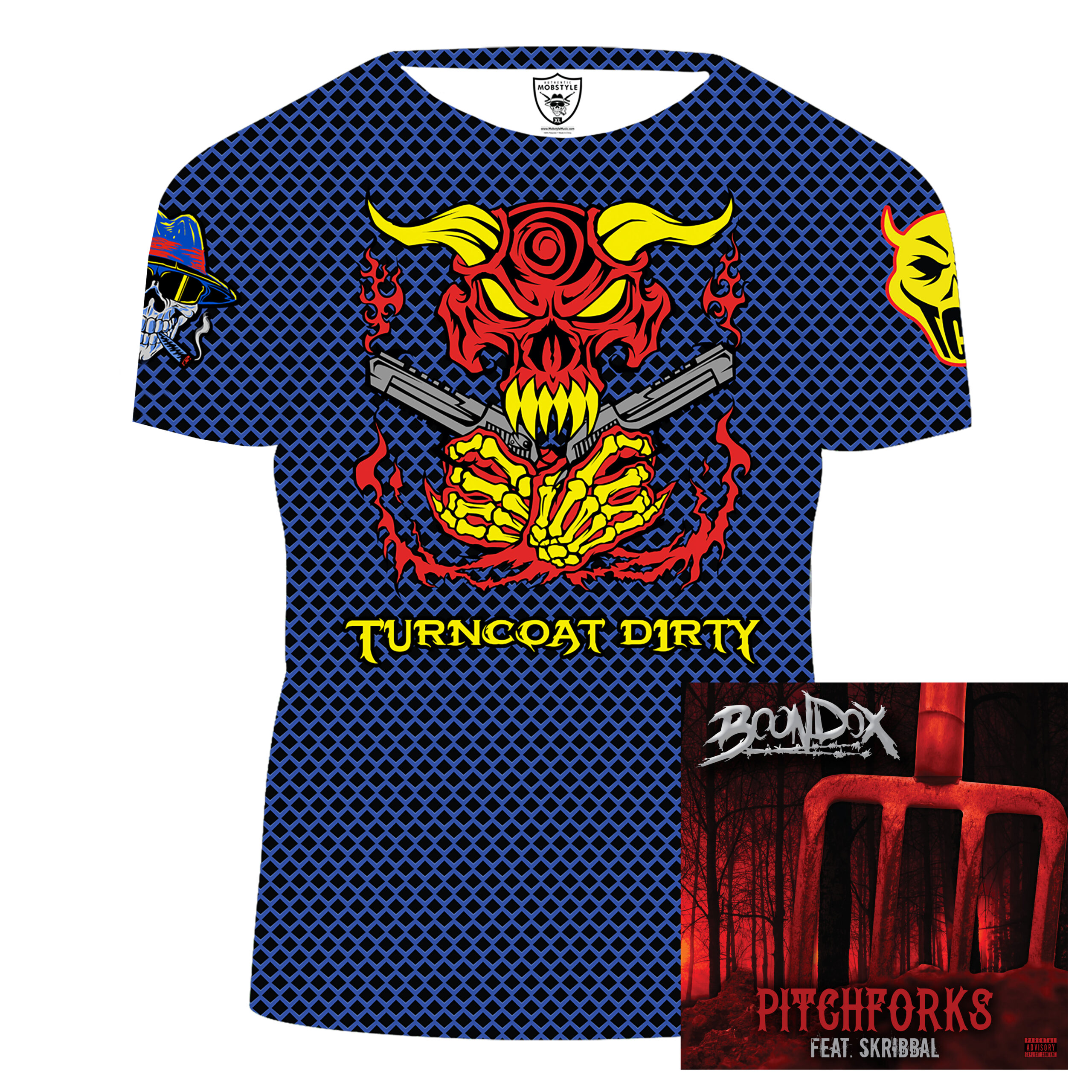 """Turncoat Dirty """"Super-Dirt"""" Sublimated T-shirt! Includes Limited AUTOGRAPHED Boondox """"PITCHFORKS"""" CD!"""