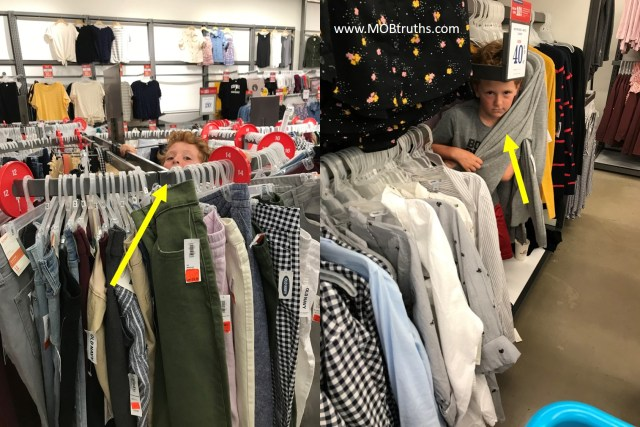 Back-to-school shopping is not complete without hiding in the clothes.