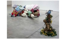 And, she has a bowl of lilacs in her room, 2008Clothing, fabric, books, foam, ribbon, rope, binding, carpet and found objects, 30 x 68 x 52 inches (76.2 x 172.72 x 132.08 cm)Gift of the Artist