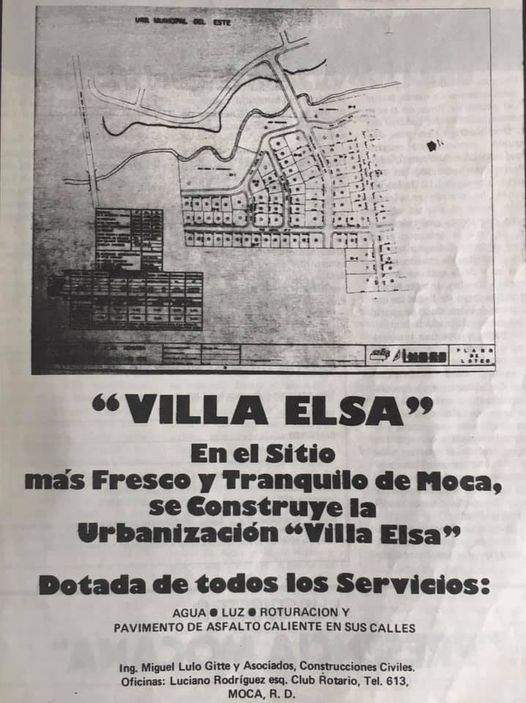 """Anuncio publicitario de la urbanización """"Villa Elsa"""" en la revista Presencia Mocana. Fuente: Presencia Mocana año 1977"""