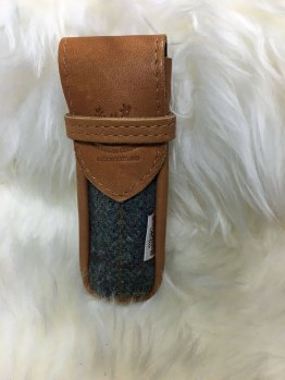 Scottish deerskin and Harris Tweed Spectacle Case