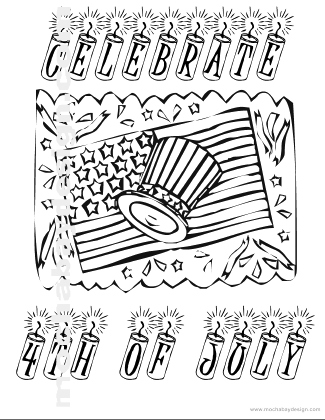 Printable 4th of July Holiday Coloring Page of Celebration