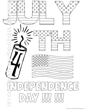 Printable 4th of July Holiday Coloring Page of Big