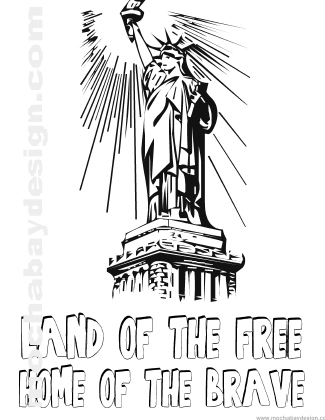 Printable 4th of July Holiday Coloring Page of Statue of