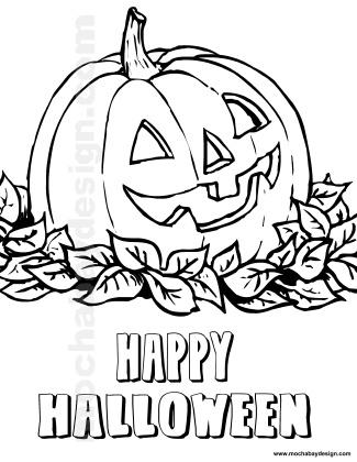 Jolly Pumpkin in Leaves Printable Halloween Kids Coloring