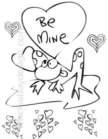 Printable Be Mine Frog Valentines Day Coloring Page