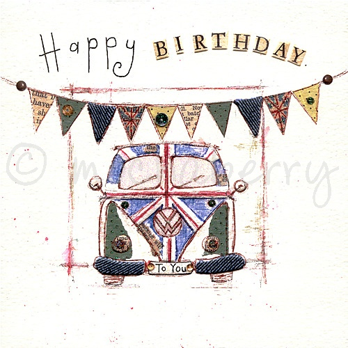 Happy Birthday Card Vintage Greetings Cards VW Camper