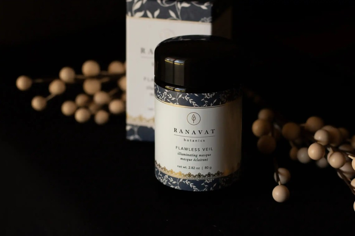 Ranavat Botanics Flawless Veil Masque jar on black background