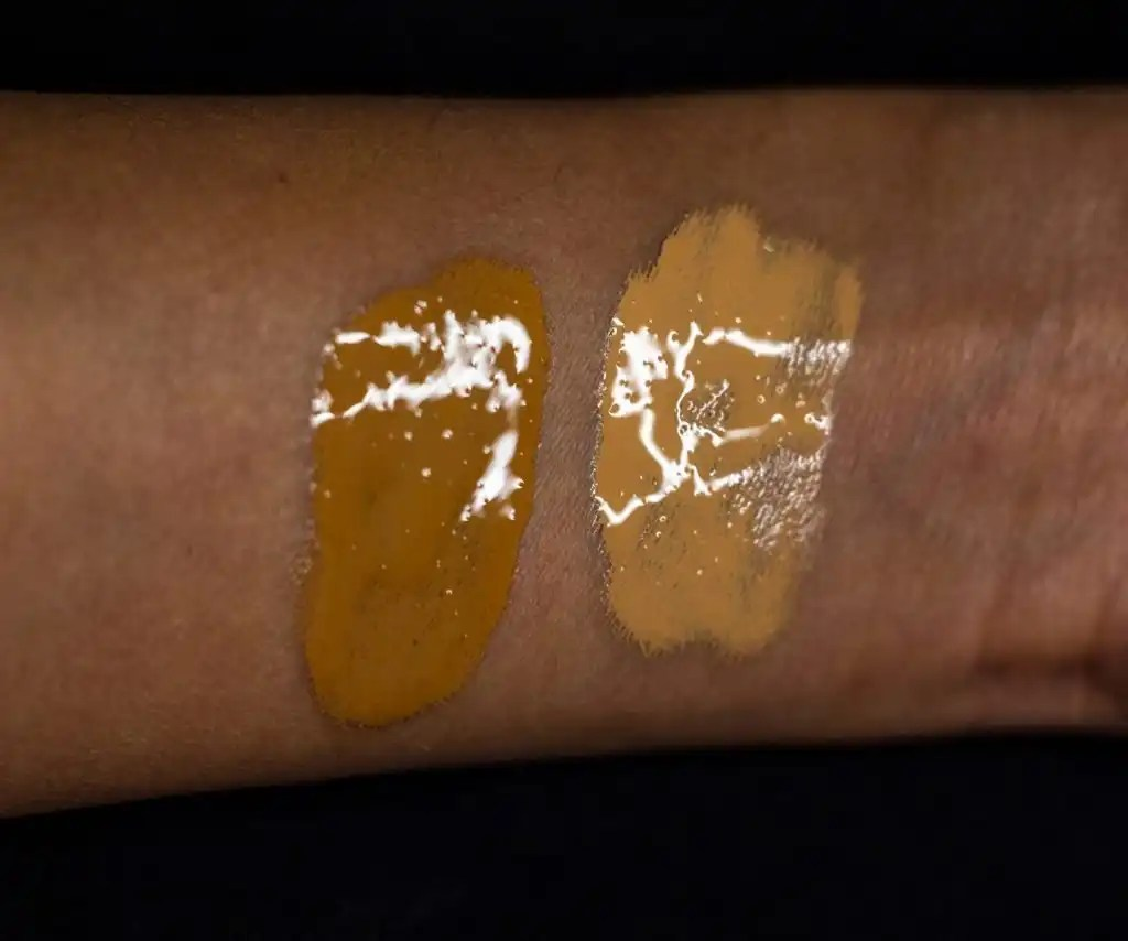 Ilia swatches on inside of arm