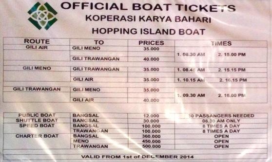 horarios barcos gili