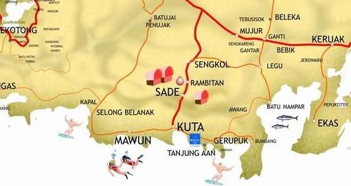 lombok beach map
