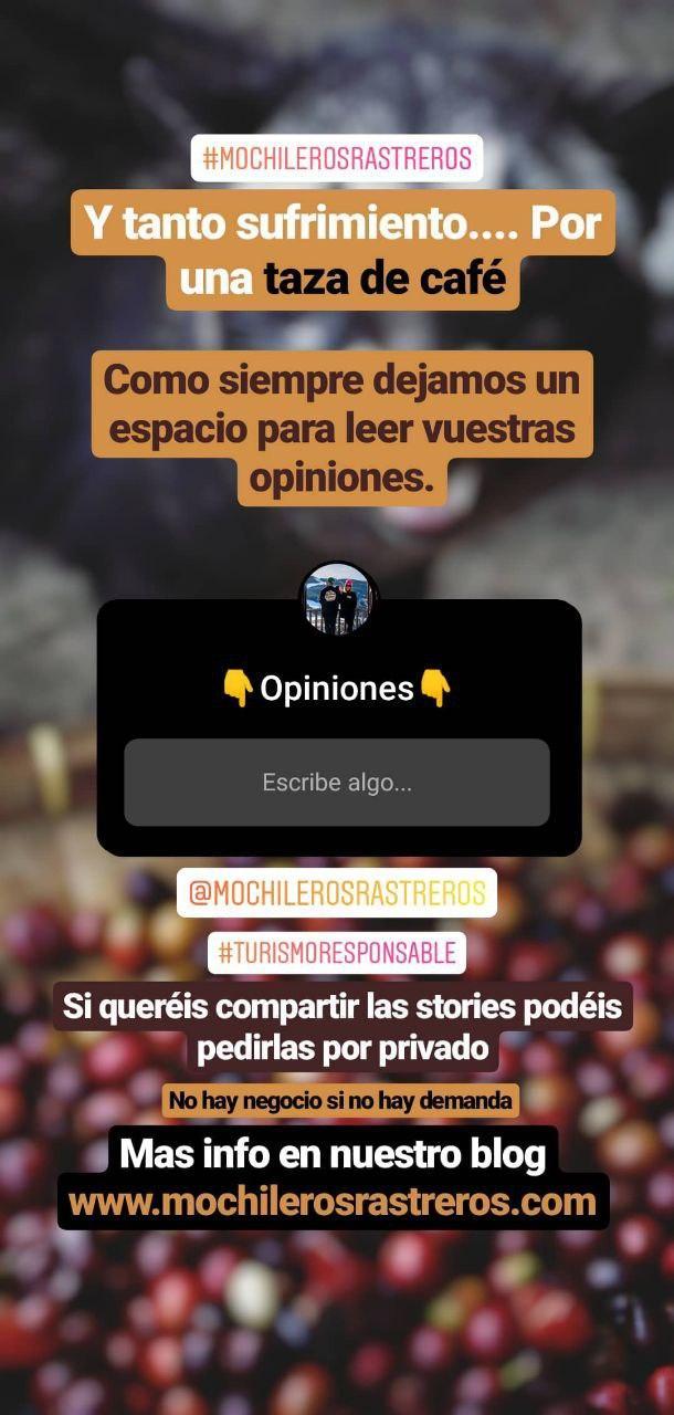Storie Instagram turismo responsable mochileros rastreros