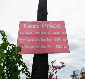 precios taxis bagan myanmar