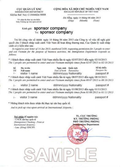 carta invitacion visa vietnam