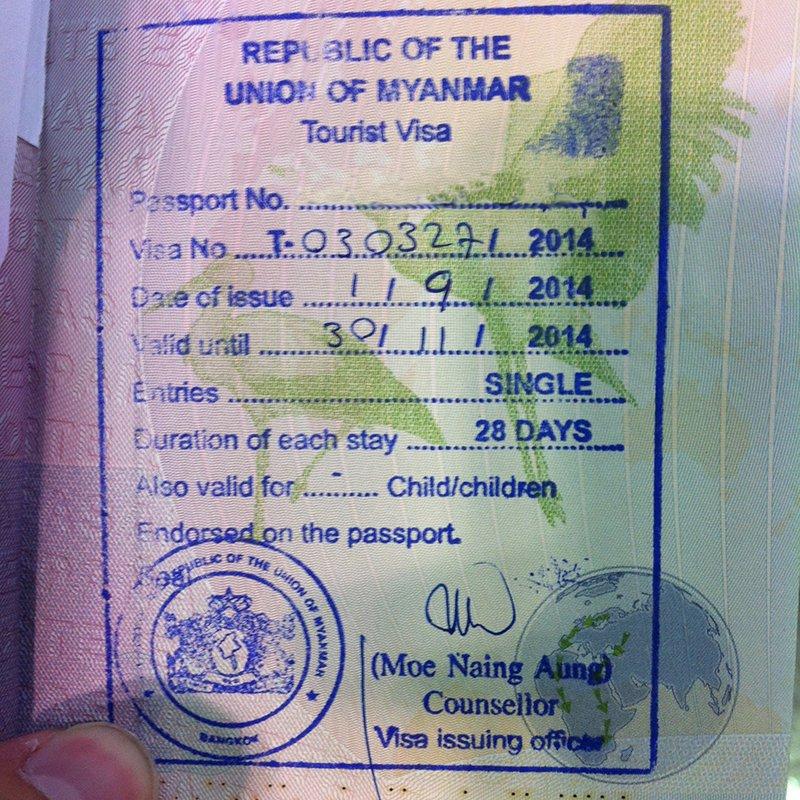 Sello del visado para Myanmar estampado en un pasaporte