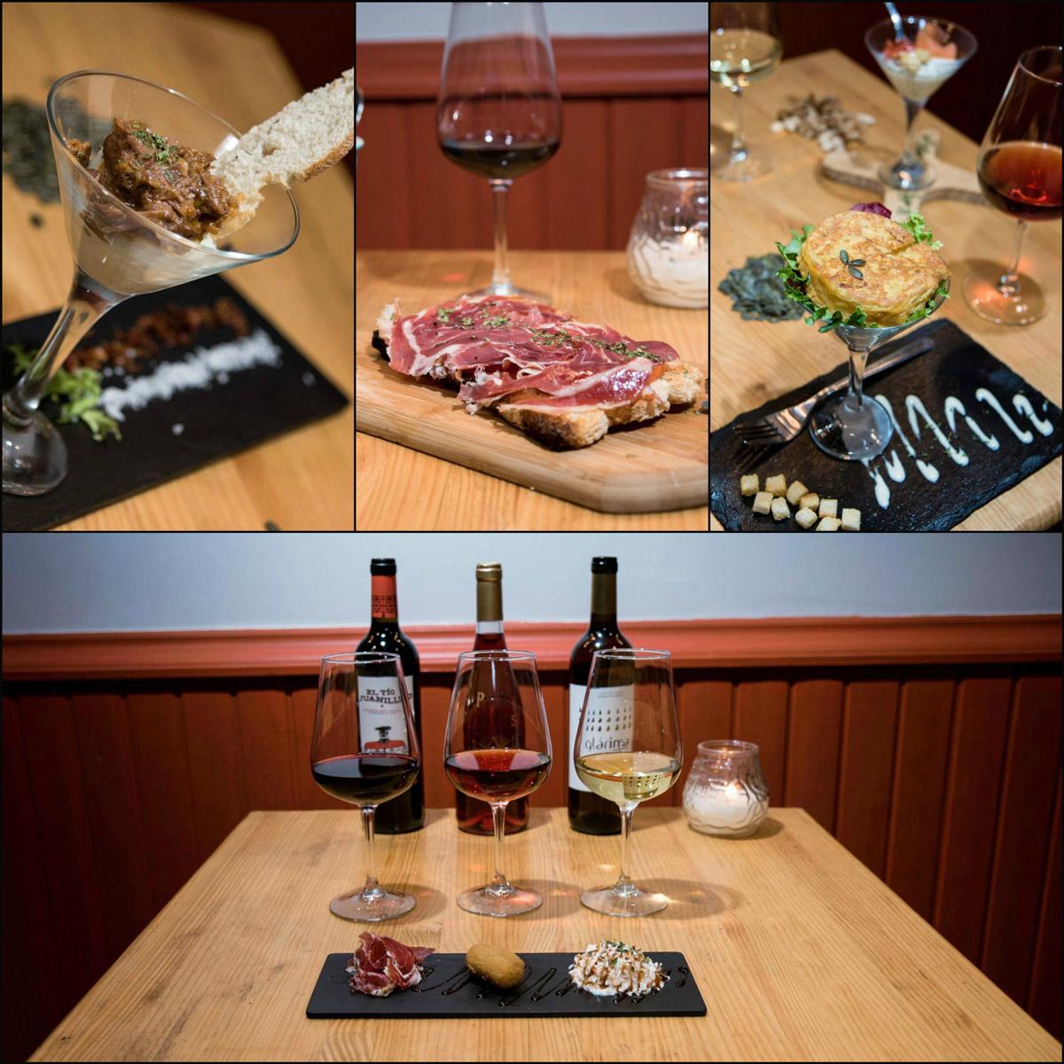 Catas de vino en Madrid en la vinoteca Xelavid, botellas de vino y tapas