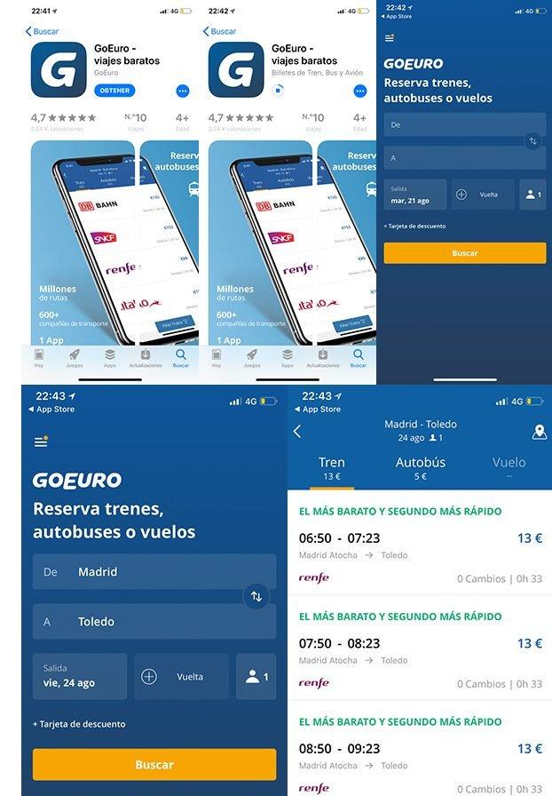 App de Go Euro, captura de pantalla y que ver en Toledo