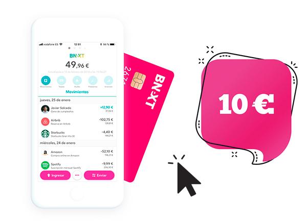 Regalo de 10€ en el alta de la tarjeta Bnext, una de las mejores tarjetas para viajar