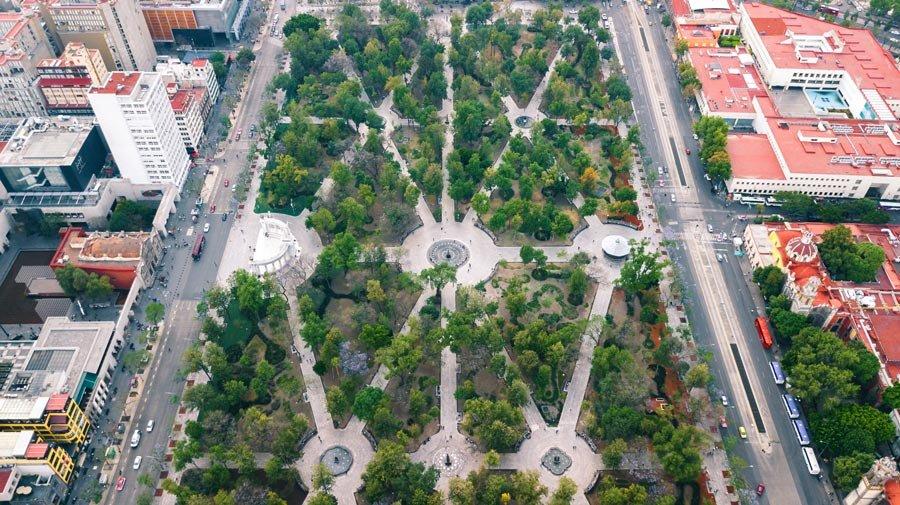 Vista aérea de la Alameda Central de Ciudad de México
