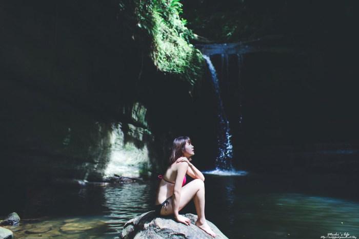 新北瀑布秘境|望谷瀑布:空靈瀑布秘境游泳,望谷車站走10分鐘即可抵達@平溪景點