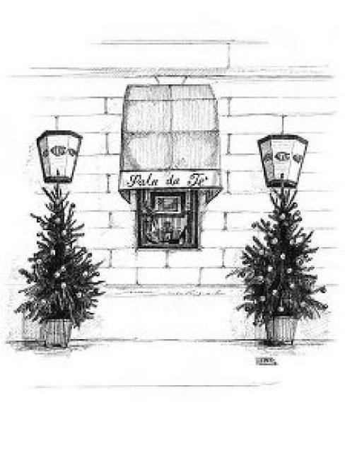 Milano・クリスマスのカフェ / 画 望月麻里 illustrated by (C) Mari Mochizuki.