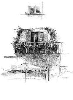 Roma・ナヴォーナ広場にて / 画 望月麻里 illustrated by (C) Mari Mochizuki.