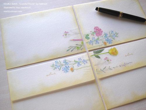 マインドフル スケッチ・グレイスフル フラワー (日本ホールマーク)2015年 Mindful Sketch・Graceful Flower / Hallmark / illustrated by Mari Mochizuki