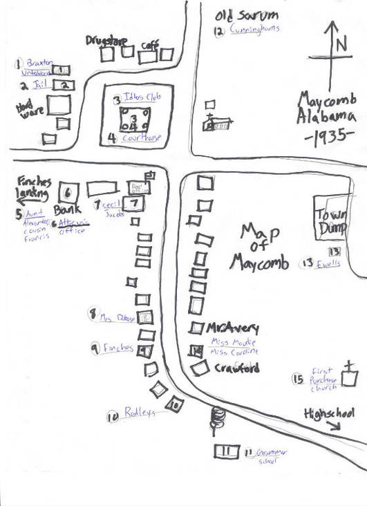 Map Maycomb Kill Mockingbird Negro Cabin