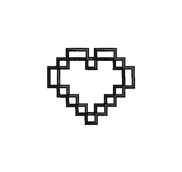 Video Game 8 Bit Heart Digital Applique Embroidery Design