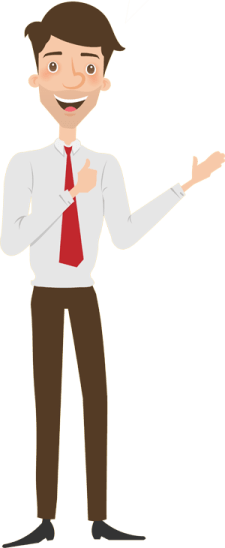 Cartoon man pointing to the Mock Interviews about us description text.