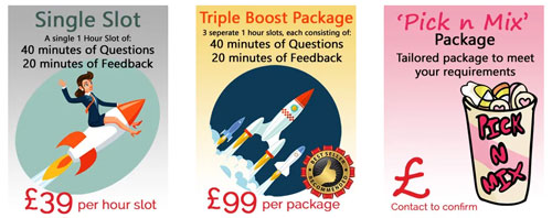 The image shows the 3 different mock interview packages you can book at MockInterviews.co.uk. The Single Slot, Triple Boost Package or the Pick n Mix pack.