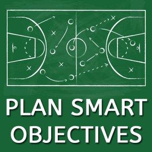 Goal Acheivement programme part 4: plan smart objectives text with a chlak board plan drawing