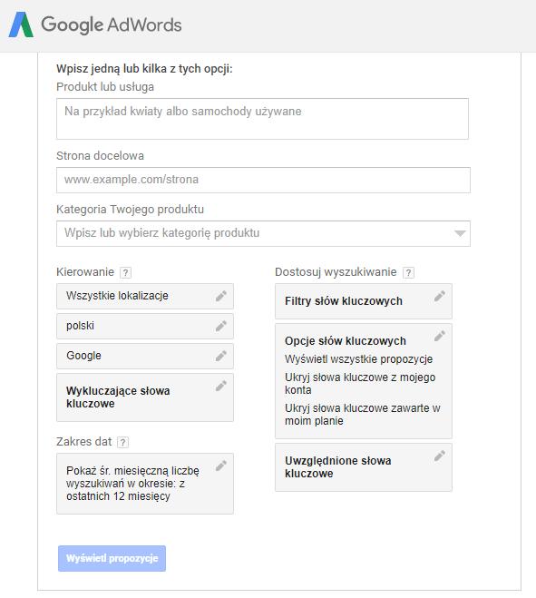 planer slow kluczowych google adwords