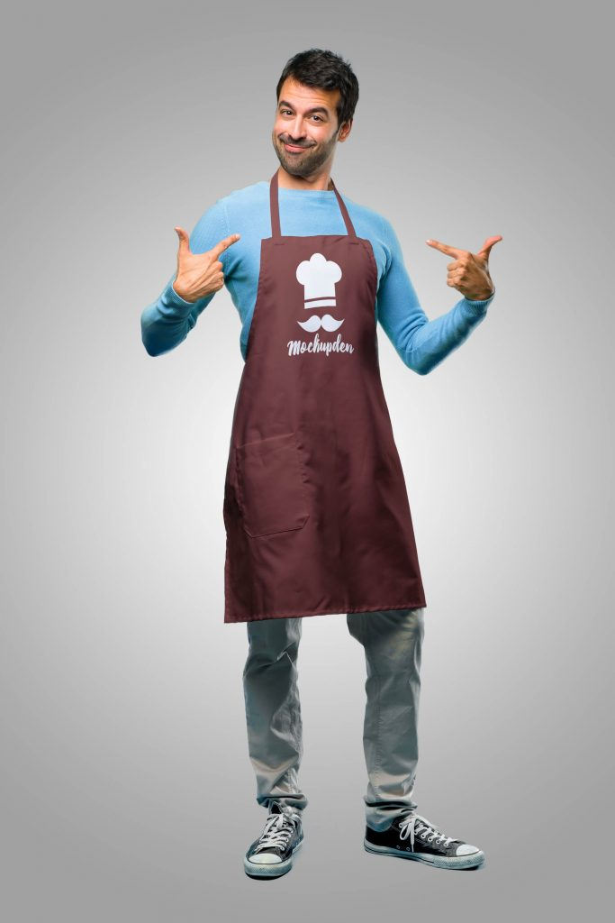 This mockup shows an apron from a top view. 40 Free Apron Mockup White Person Wearing Waist Apron