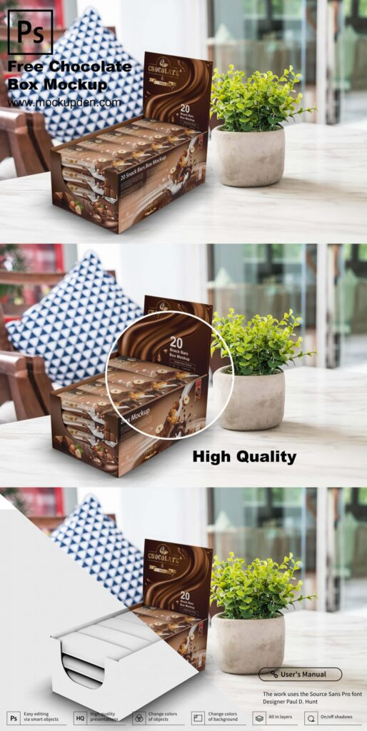 Download Free Chocolate Box Mockup PSD Template - Mockup Den