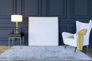 background interior living luxury mock frame poster 3d classic premium mockup rendering modern render glow bulb decorative decor carpet carpets