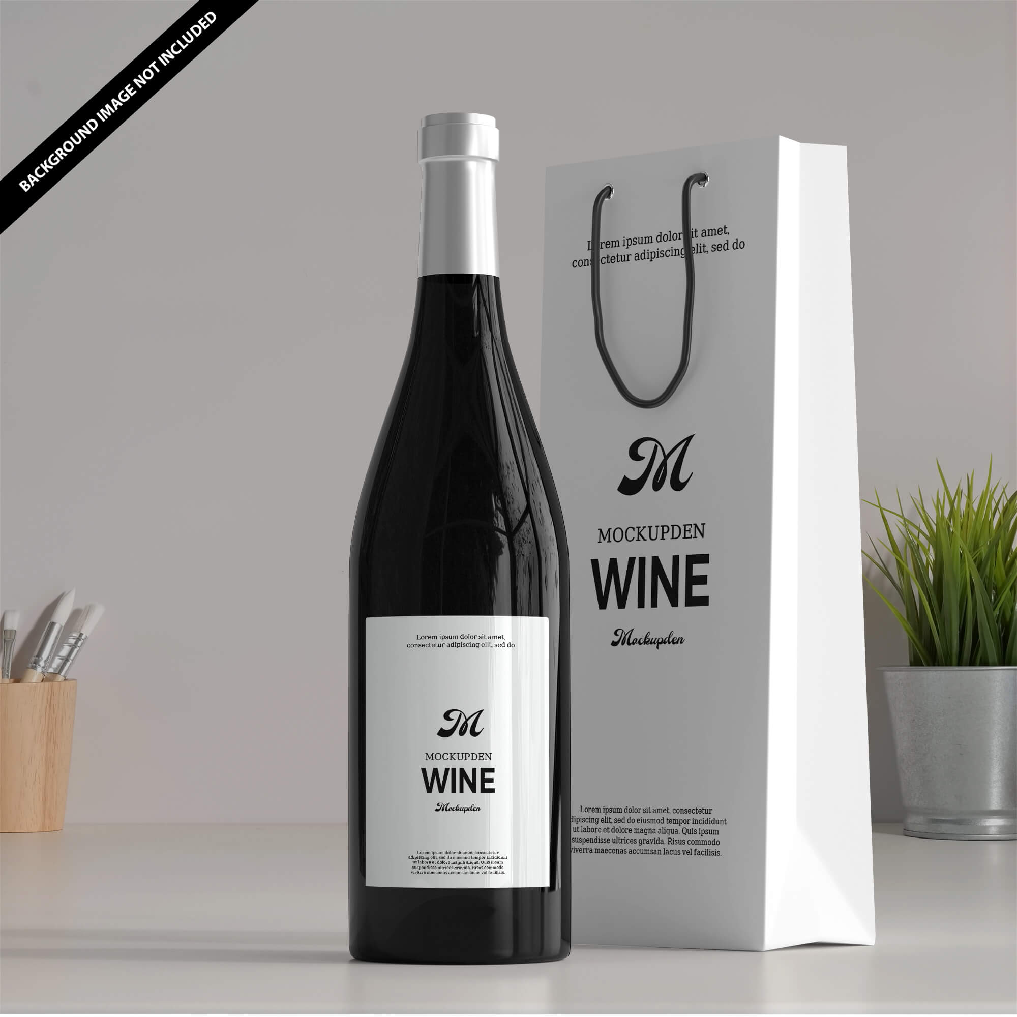Dropper bottle mockup featuring its packaging on a customizable surface · chips bag mockup. Free Wine Bag Mockup Psd Template Mockup Den